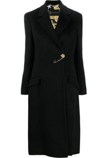 Versace Safety Pin Barroco Lining Coat - Preto