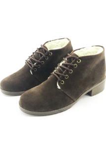 Bota Coturno Forrada Em Lã Quality Shoes Camurça Marrom