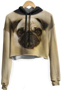 Blusa Cropped Moletom Feminina Over Fame Pug Md01 - Kanui