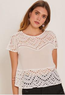 Blusa Com Laise & Recortes - Off Whitepop Up