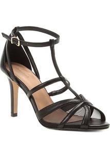 Sandália Shoestock Salto Fino Tela Feminina - Feminino-Preto