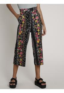Calça Feminina Pantacourt Estampada Floral Com Arabescos Preta