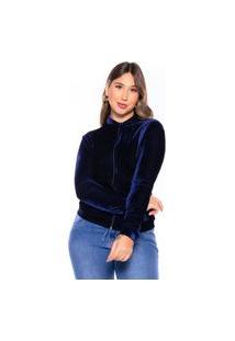 Jaqueta Bomber Veludo Casaco M&A Modas Azul