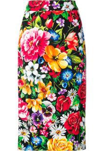 Dolce & Gabbana Saia Lápis Com Estampa Floral - Preto