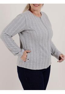 Jaqueta Plus Size Feminina Cinza