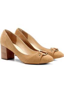 Scarpin Couro Shoestock Salto Médio Argola - Feminino-Caramelo