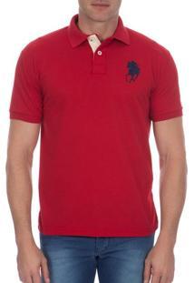 Camisa Polo Masculina Vermelha Lisa Com Bordado - P