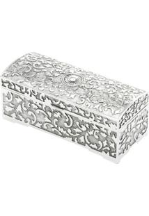 Porta Jóias Silver Plated De Zamac 9,8X5X4,3 Cm - Unissex