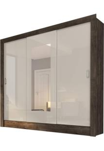 Guarda Roupa Casal 3 Portas Com Espelho Gran Siena Móveis Cumaru Rustic/Off White