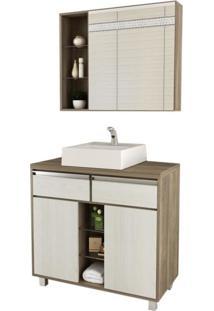 Gabinete Para Banheiro Com Espelheira Balcony Malbec 80 Não Acompanha Torneira Artico/Merlot