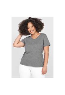 Camiseta Basicamente. Plus Size Gola V Cinza