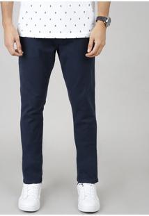 Calça De Sarja Masculina Chino Slim Com Cinto Azul Marinho