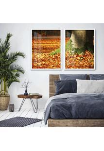 Quadro 65X90Cm ÁRvores Com Folha De Outono Moldura Branca Com Vidro - Multicolorido - Dafiti