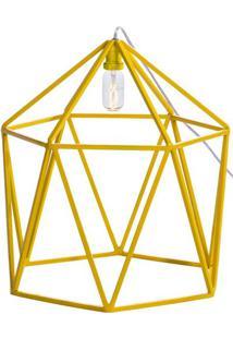 Luminaria Pendente Cenic Estrutura Quadrada De Ferro Cor Amarela 45Cm (Larg) - 54073 Sun House