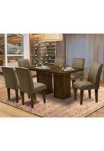 Mesa Para Sala De Jantar Com 6 Cadeiras Amsterdam – Dobuê Movelaria - Castanho-Rt / Castor