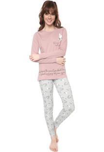 Pijama Pzama Dog Rosa/Off-White