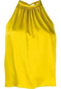 Aspesi Blusa Frente Única Plissada - Amarelo