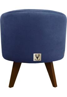 Puff Pé Palito Redondo Alce Couch Suede Liso Azul 40Cm