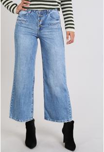 fc8706b8a CEA. Calça Jeans Feminina Pantacourt Cintura Média Azul Médio