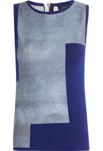 Regata Feminina Geométrica - Azul