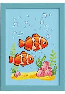 Quadro Infantil Peixes Palhaço Moldura Azul 22X32Cm - Tricae