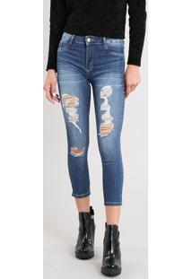 Calça Jeans Feminina Sawary Cropped Destroyed Azul Escuro