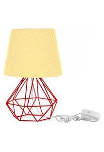 Abajur Diamante Dome Amarelo/Bolinha Com Aramado Vermelho