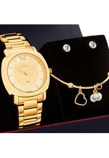 Kit Relógio Condor Feminino Com Bracelete E Brincos Coal2035Eyy/K4D