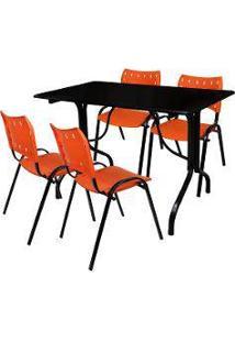 Jogo Mesa Fixa 120 Por 70 Tampo Preto 4 Cadeiras Laranja Plástico