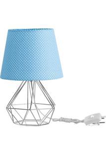 Abajur Diamante Dome Azul/Bolinha Com Aramado Cromado - Azul - Dafiti