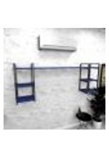 Estante Industrial Escritório Aço Cor Preto 180X30X68Cm (C)X(L)X(A) Cor Mdf Azul Modelo Ind28Azes