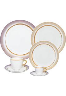 Aparelho De Jantar Oxford Coup Glam 42 Peças Porcelana Branco