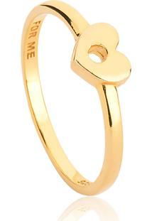 Anel De Prata 925 Banho Dourado Coração Vazado-For Me
