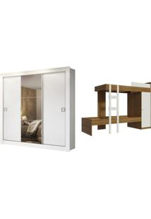 Kit Madesa Guarda-Roupa Infantil Texas Plus 3 Portas De Correr Com Espelho + Beliche Larissa Branco