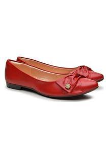 Sapatilha Feminina Bico Fino Laço Casual Fashion Conforto Vermelho 34 Vermelho