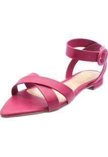 Sandália Rasteira Mania De Mulher Bico Fino Folha Santorine Pink Rouge - Kanui