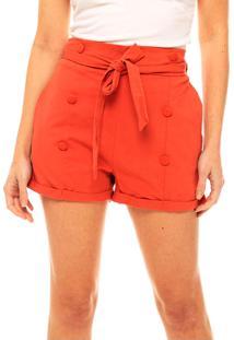 Shorts Sob Coral Em Algodão Cintura Alta Soltinho Com Bolsos E Botões