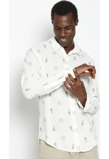 Camisa Floral Com Linho - Off White & Azulosklen