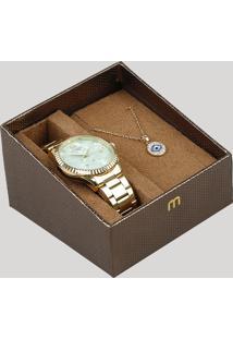 Kit De Relógio Analógico Mondaine Feminino + Colar - 99128Lpmkde1K2 Dourado - Único