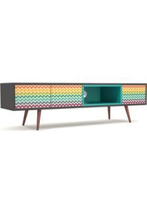 Rack Slim Rainbow Preto Portas Impressas 1,60 Mt - 32163 Sun House