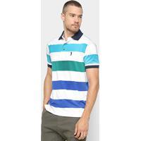 Camisa Polo Aleatory Estampa Listrada Masculina - Masculino-Verde+Branco f9d2f3d0cb363