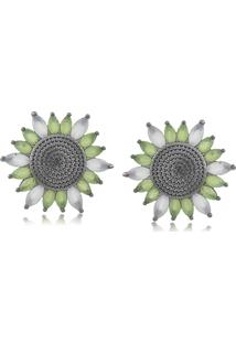Brinco Viva Jolie Branco Vela Flor Rã³Dio Negro - Branco/Verde - Feminino - Dafiti