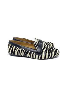 Sapatilha Feminina Couro Zebra Conforto Macia Dia A Dia Leve Preto+Branco 38