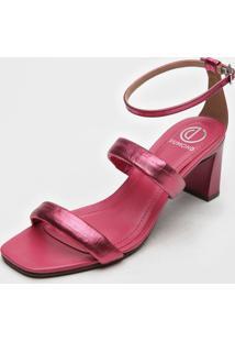 Sandália Dumond Metalizada Rosa