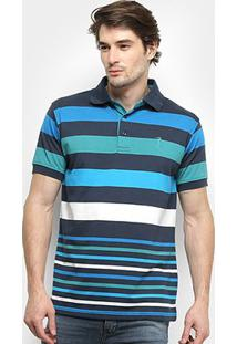 Camisa Polo Aleatory Listrada Masculina - Masculino-Azul Claro+Azul