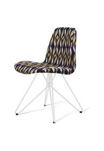 Cadeira Estofada Jacob Suede Estamapado Base Aço Branco 46Cm - 62055 Branco