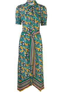 Dvf Diane Von Furstenberg Floral Print Belted Dress - Verde