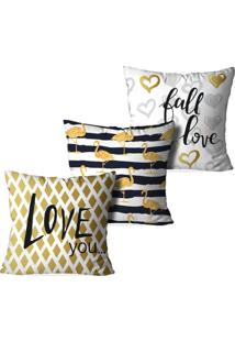 Kit 3 Capas Love Decor Para Almofadas Decorativas Love You Multicolorido Amarelo