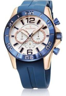 Relógio Jean Vernier 10 Atm Pulseira Silicone Feminino - Feminino-Azul