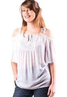 Blusa Feminina Hering Em Malha Com Ombro À Mostra E Renda